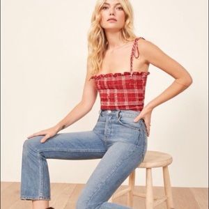 Reformation Alli Smocked Tube Cami Top Straps xs